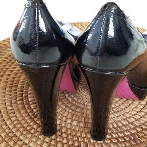 Betsey Johnson Shoes - Betsey Johnson Black Patent Leather Bow Heel Pumps